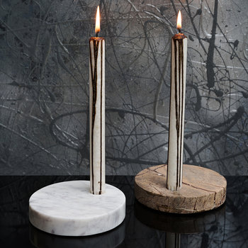 White Marble Taper Candle Holder