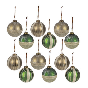 Glitter Line Bauble - Set of 12 - Pine Green/Brown