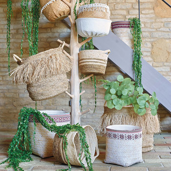 Lacy Seagrass Basket - Natural/White