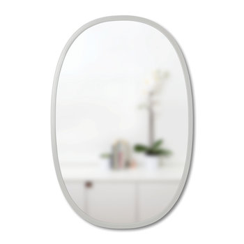 Hub Oval Mirror with Rubber Frame - Gray