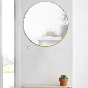 Hubba Glass Mirror with Metal Frame - Brass