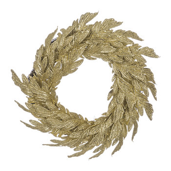 Glitter Swirl Feather and Leaf Wreath - Gold