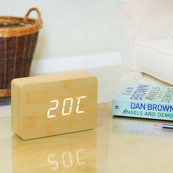 Brick Click Clock - Beech White LED