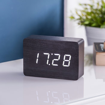 Brick Click Clock - Black / White LED