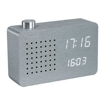 Radio Click Clock - Aluminium / White LED