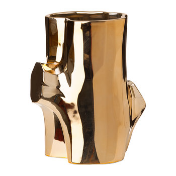 Metal Log Vase - Gold - Small