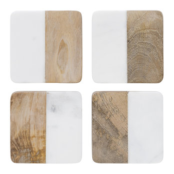 Marble & Wooden Coasters - Set of 4