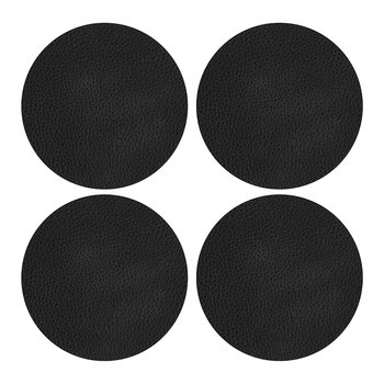 Vegan Leather Coaster - Set of 4 - Black
