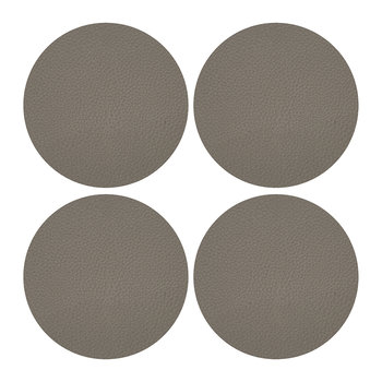 Vegan Leather Coaster - Set of 4 - Taupe