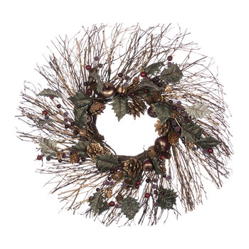 Twig Starburst Wreath with Copper Dusted Berries