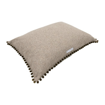 Tweed Pillow Bed With Pom Pom Trim - Gray/Olive