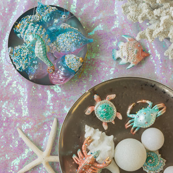 Pearl/Glitter Sea Horse and Shell Tree Decoration - Set of 2