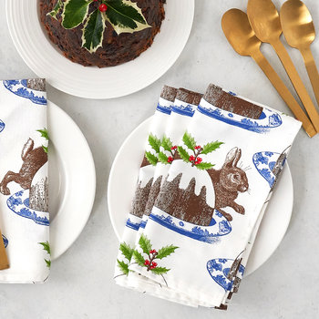 Christmas Pudding Napkins - Set of 4