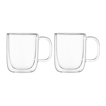 Double Walled Classic Glass Mug - Set of 2