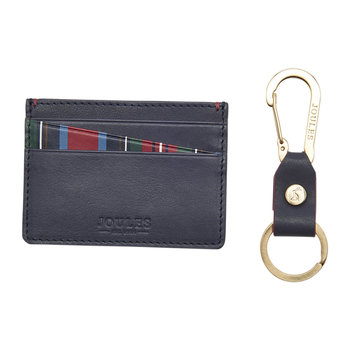 Hobson Leather Card Holder & Keyring - Brown With Stripe