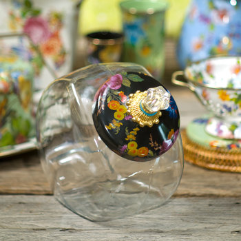 Cookie Jar with Flower Market Enamel Lid - Black