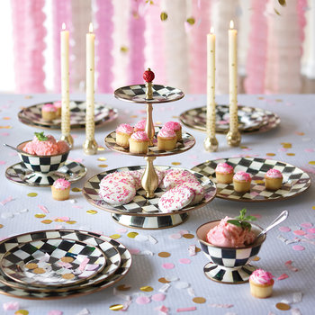 Courtly Check Enamel Cake Stand - 3 Tier