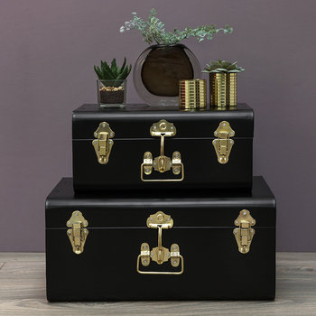 Metal Trunks - Set of 2 - Black