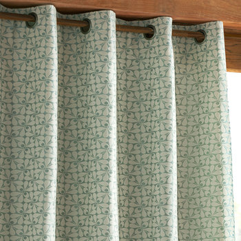 Woven Acorn Cup Eyelet Curtains - Powder Blue