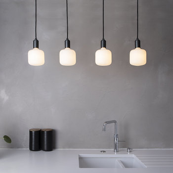 Oblo Linear Plate with 4 x Graphite Pendants