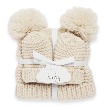 Baby Hat & Mittens Set - Cream