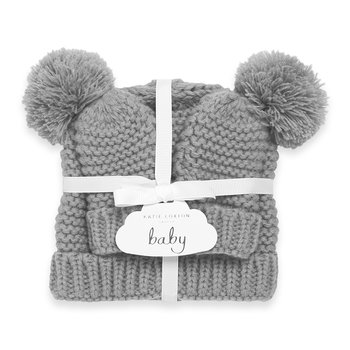 Baby Hat & Mittens Set - Grey