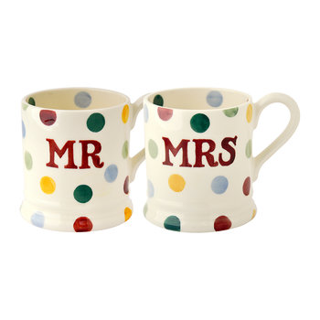 Mugs Mr & Mrs à Pois - Lot de deux