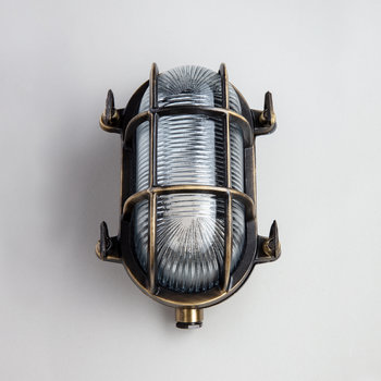 Oval Bulkhead Outdoor Wall Light - Antique Brass