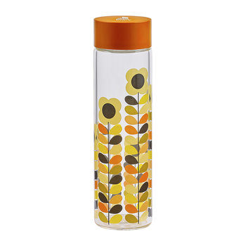 Glass Water Bottle - Multi Daisy Stem - 525ml