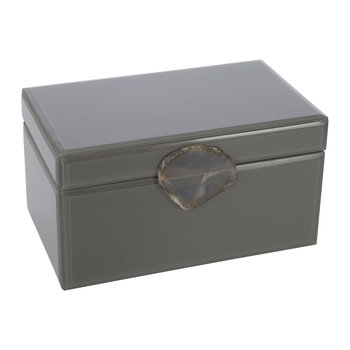 Agate Handle Jewelry Box - Gray