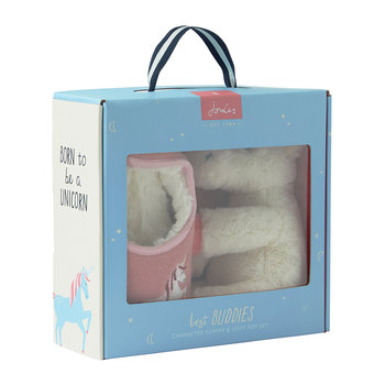 Slipper & Soft Toy Gift Set - Cream Unicorn