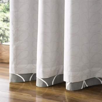 Linear Stem Eyelet Curtains - Silver