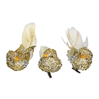 Glitter/Feather Bird Clip Tree Decoration - Set of 3 - Gold/Cream