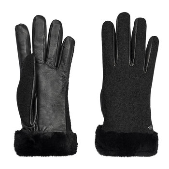 Women's Shorty Fabric & Leather Glove - Black