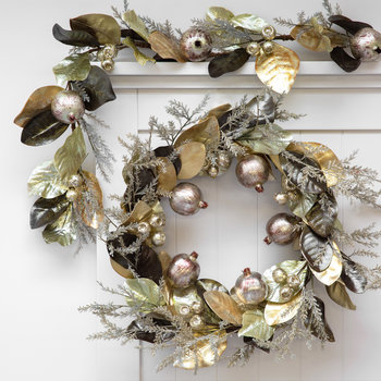 Pomegranate and Leaf Wreath - Champagne/Gold