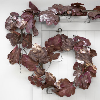Metallic Fig Leaf and Twig Wreath - Burgundy/Aubergine