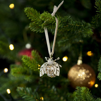 Sparkle Bee Christmas Tree Decoration - Topaz