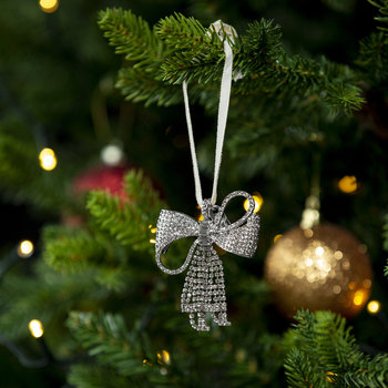 Sparkle Bow Christmas Tree Decoration - Crystal