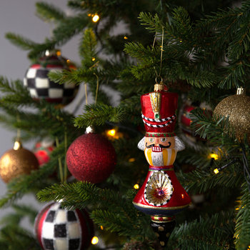 Nutcracker Reflector Tree Decoration - Red