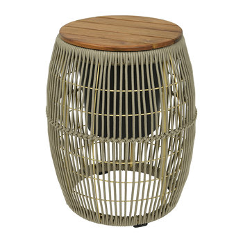 Outdoor Rope Weave Side Table - Beige