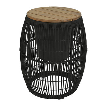 Outdoor Rope Weave Side Table - Black