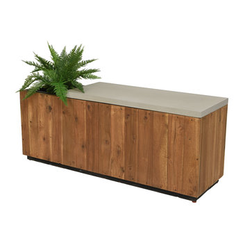 Outdoor Wooden Bench with Planter - Natural