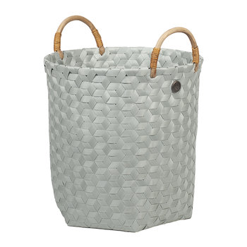 Dimensional Round Basket with Rattan Handles - Eucalyptus