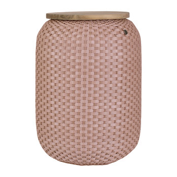 Halo Storage Basket with Wooden Plate - Copper Blush