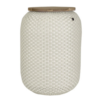 Halo Storage Basket with Wooden Plate - Cream White