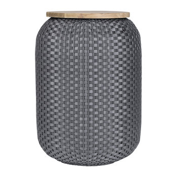 Halo Storage Basket with Wooden Plate - Dark Grey