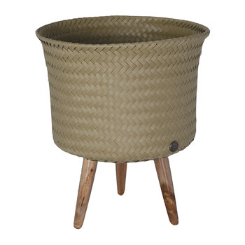 Up Round Basket with Wooden Feet - Camel