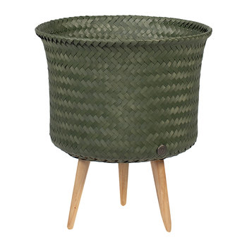 Up Round Basket with Wooden Feet - Hunting Green