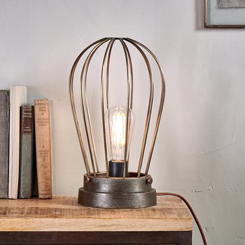 Paru Industrial Caged Lamp - Antique Brass