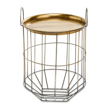 Tor Side Table - Antique Brass/Grey